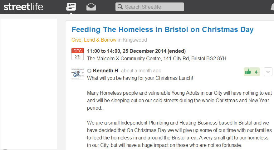 Call out for help on Streetlife - Feeding The Homeless in Bristol on Christmas Day